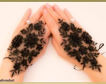 Black Pearls Lace Wedding Gloves Fingerless Gloves Black Gloves Party Gloves Bridal Gloves Formal Gloves Lace Gloves Evening Gloves