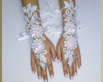 White Wedding Gloves Pearls Lace Gloves Guipure Gloves Fingerless Gloves Formal Gloves Bridal Gloves Party Gloves