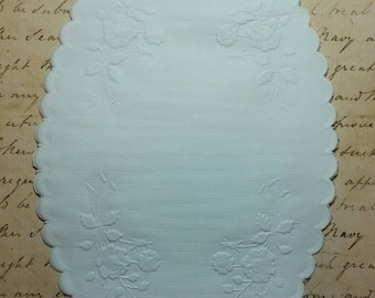 """Oval Rose Embossed Doily 5"""" x 8"""""""