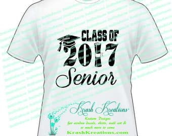 Class of 2017 SENIOR T-shirt IRON on Design, Class of 2017 with Diploma
