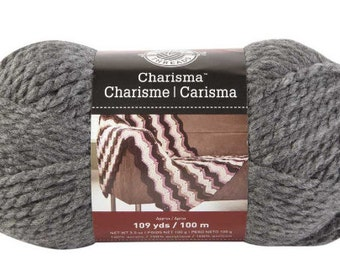 Charisma Yarn, Loops and Threads Yarn, Bulky Weight 5 Yarn, Charcoal, 3.5oz skein, Lot of 3 Skeins