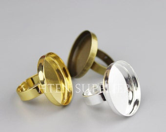 10pcs  3 ColorsRound 25mm Ring  Base Setting - 3 Colors Antique Bronze / gold / Silver 25mm ring trays - ring blanks