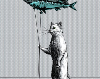 Cat Balloon Print