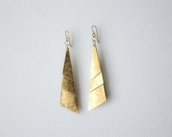 long geometric triangle earrings, hammered brass dangle earrings, gold geometric earrings, jewelry gift for her, boho soul earrings