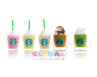 Dollhouse Miniatures Collection of Frappe Starbucks Coffee