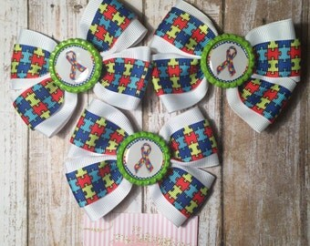 Autism awareness hair bow. Puzzle hair bow. Autism support boutique hair bow.