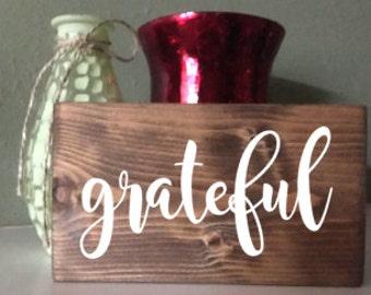 Be Grateful, Grateful Sign, Small Grateful, Wall Decor, Wooden Letter Blocks, Mini Sign, Thanksgiving Decor, Fall Decor, Rustic Wood Sign