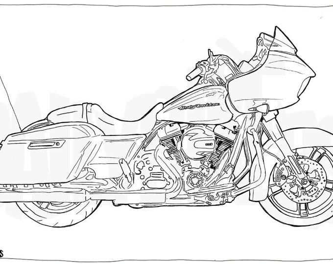 Harley Davidson Road Glide Colouring Page - Motorcycle Illustration - Motorcycle Coloring