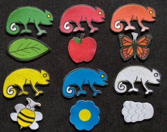 Carl Chameleons Walk Felt Story// Flannel Board // Chameleon // Colors // Imagination // Children // Preschool // Creative Play //