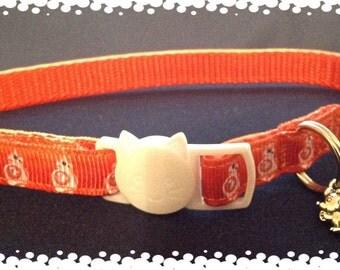 3/8 Wide Custom Made Adjustable BB8 Inspired Grosgrain Breakaway Cat Collar