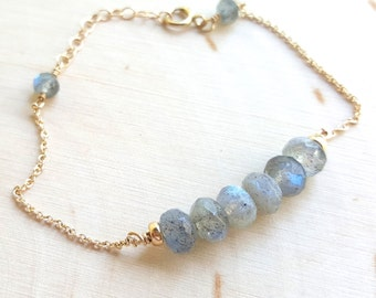Labradorite Large Beaded Bracelet
