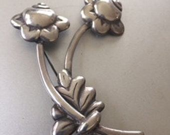 Vintage 1940s Hector Aguilar Sterling Floral Pin