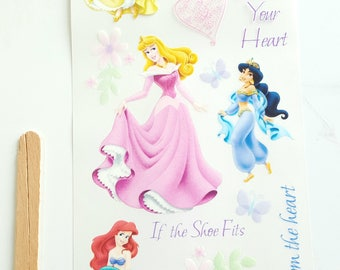 Disney Princess Rub on Transfers - 1 Sheet - 21 rub on transfers
