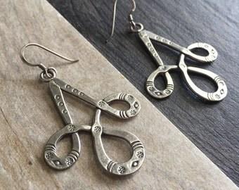 Long silver earrings, long abstract silver earrings, long thin silver earrings, boho abstract silver earrings