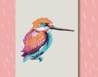Alice the Kingfisher, Greetings Card, Blank, Just a Note