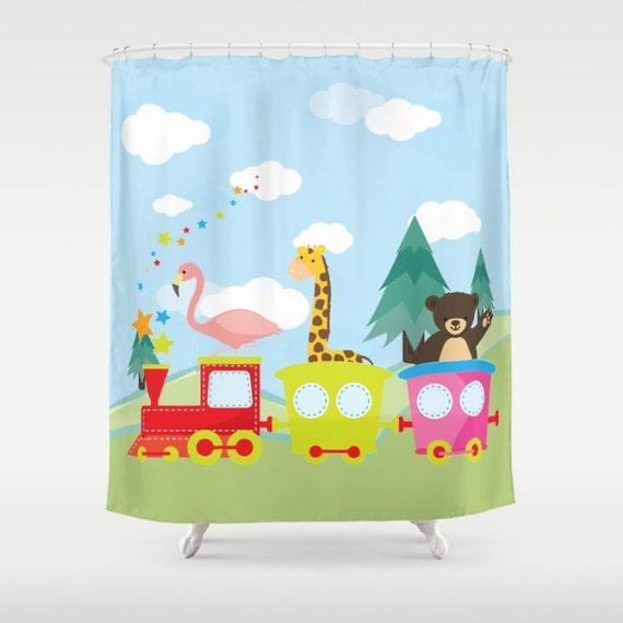 Train fabric shower curtain kids shower curtain kids for Kids train fabric