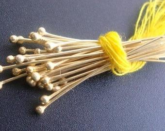 "28 gauge, Bulk 50 pcs, 25 mm, 1"", 24K Gold Vermeil Head pins, Vermeil Headpins, ball end head pins"