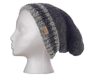 Charcoal Power Slouch Hat, beanie, toque, knit hat, hand knit, cap, fleece lined