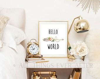 HELLO WORLD | Print | Wall Art | Decor | Nursery | JW | Playroom | Printable | arrows | feathers | 0011