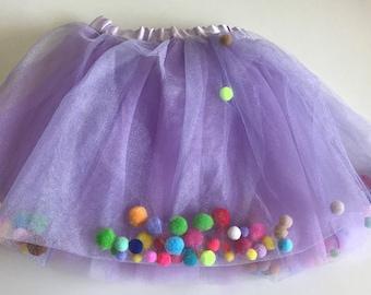 Pom Pom Tulle Skirt (Size 1-2)