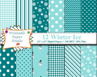 Winter Digital Paper Pack, Turquoise Aqua Blue & White Snowflake Digital Paper, Winter Snowman Paper, Instant Download, Winter Digital File