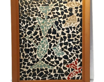 Retro Mosaic Abstract Tile and Grout Original Artwork with Wooden Frame