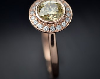 Round Bezel set with Halo Micro Pave in engagement ring in Gold