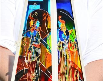 Art Deco Fashion Glass Painting / Erte Figure Candle Lantern / 1930s Costume Hanging Lantern / Garden Ornament / Colourful Window Suncatcher