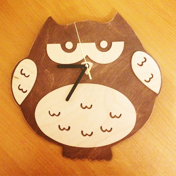 Wooden Owl Wall Decor : Wooden owl clock nursery wall decor handmade