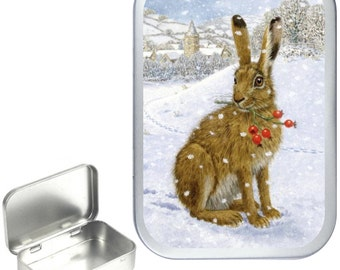 Winter Rabbit  1oz silver hinged tobacco tin,pill box,storage tin