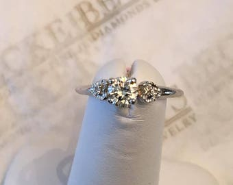 Vintage 18k white gold engagement ring 3 Round Diamonds, .42 tw K-VS2, size 6.25, with Beaded Heart Shaped Accents on Shoulders