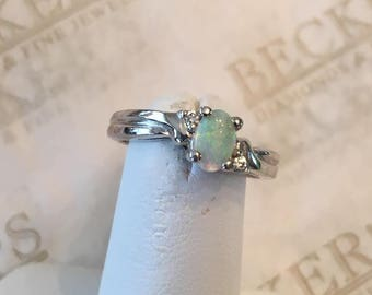 Vintage 14k white gold Oval Opal Cabochon Ring with 2 Diamonds in a Ribbed Mounting, .03 tw, size 4.5