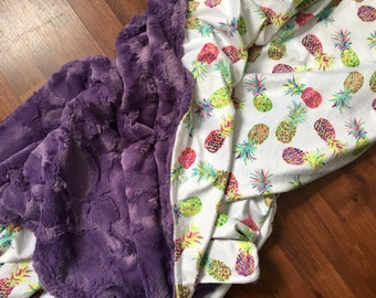 Neon pineapple blanket// baby & toddler // minky; faux fur // crib bedding, nursery decor