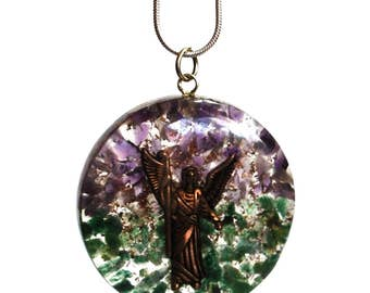 Archangel Raphael Orgone Crystal Pendant And Silver Chain