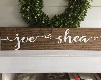 First name sign - engagement sign - bride and groom name sign - custom sign - wooden sign - wood sign