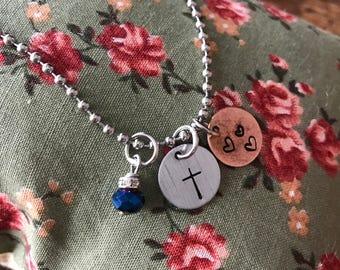 Cross, Hearts - Hand Stamped Charm  - Bracelet, Necklace, Anklet