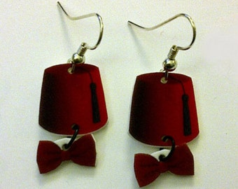Dr Who Inspired Fez and Bowtie Earrings (Pair)