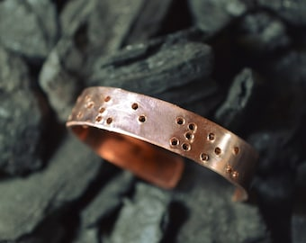 Kupfer Armband mit Ihrem Text in Braille-Schrift