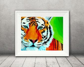 Tiger Art - Tiger Print -Big Cat Art - Wildlife Art - Green Tiger Artwork - Colorful Tiger Art - Bright Print- Colorful Animal Art - Cat Art