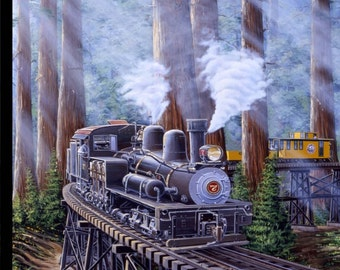 Train Fabric Panel / Redwood Express Train Panel Designed by Marc Desobeau for Blank Quilting  fabric panel