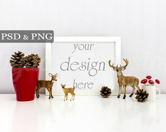 Christmas Deer Family Cone Styled Stock Photography Horizontal Frame Mockup Digital Product Background Photo Download Empty Frame
