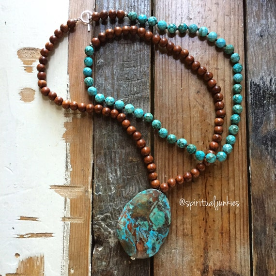 108 Bead Double Wrap Partially Handknotted Bayong Wood, Turquoise Magnesite + Ocean Jasper Yoga Mala w/ Hill Tribe Sterling Silver Toggle