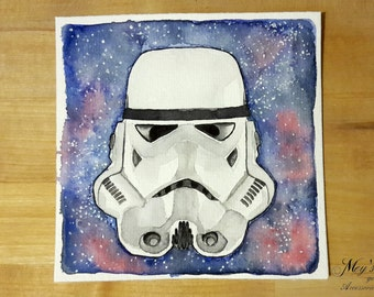 Watercolour Stormtrooper in the universe