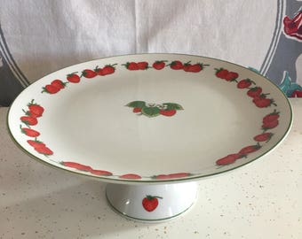 Shafford strawberry patch fine porcelain cake stand