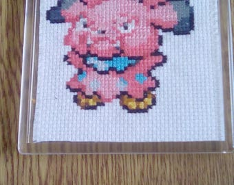 Snubbull Inspired Cross Stitched Coaster