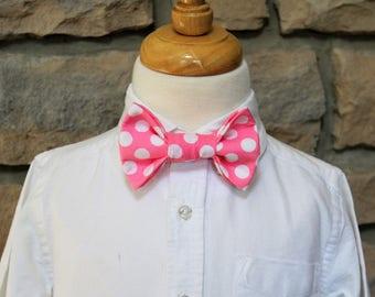 Little Boys Pink Bow Tie, Little Boys Pink Polka Dot Bow Tie, Boys Bow Tie, First Communion Tie, Easter Tie, Boys Pink Tie