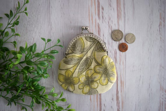 Grey and Yellow Floral and Stripe Coin Purse. Upcycled Coin Pouch with Kisslock Close. Bag Made with Recycled Fabrics. Eco Friendly Gift