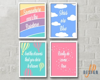 Somewhere over the rainbow wizard of oz rainbow sky air balloons nursery prints quote kids room decor