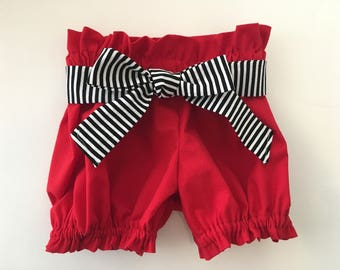 Red Bloomer Shorts / Ruffle Bloomers Newborn / Baby / Toddler