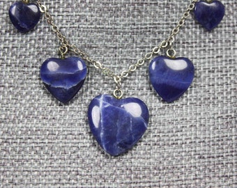 Vintage Floating Hearts Charm Lapis Lazuli Necklace 14 Inch 5 Hearts